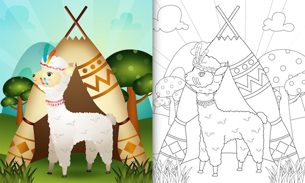 Kolorowanka dla dzieci z uroczą plemienną boho alpaką
