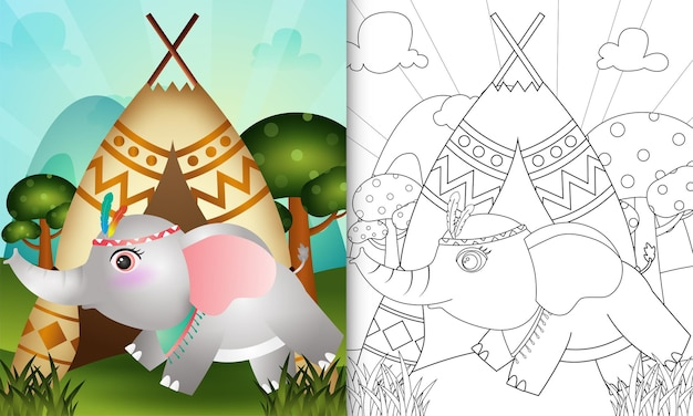 Kolorowanka dla dzieci z uroczą plemienną boho ilustracją postaci słonia