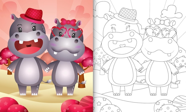 Kolorowanka dla dzieci z walentynkami o tematyce cute para hipopotamów