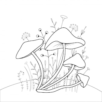 Kolorowanka dla dzieci ze zwierzętami kreskówek. zadania edukacyjne dla dzieci w wieku przedszkolnym śliczne grzyby