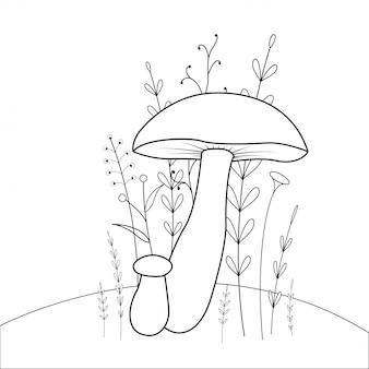 Kolorowanka dla dzieci ze zwierzętami kreskówek. zadania edukacyjne dla dzieci w wieku przedszkolnym słodkie grzyby