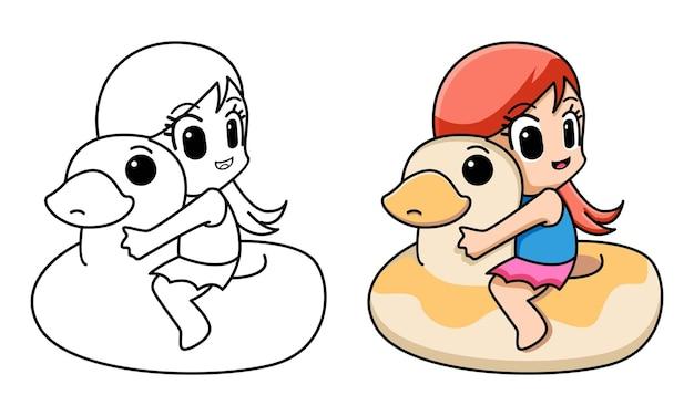 Kolorowanka dziewczyna z kaczką do pływania dla dzieci