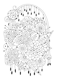 Kolorowanka fbukiet kwiatów.