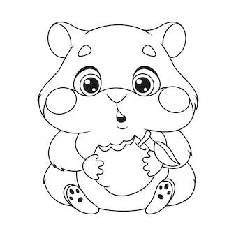Kolorowanka głodny chomik jedzący jabłko. zarys ilustracja kreskówka wektor