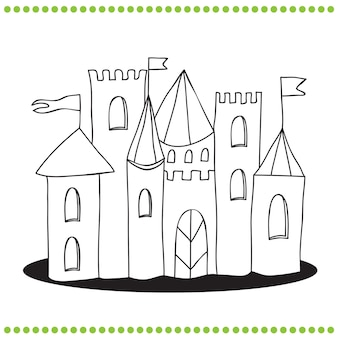 Kolorowanka - grafika liniowa ilustracja zamku