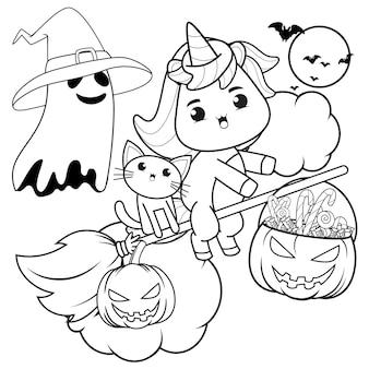 Kolorowanka halloween z uroczym jednorożcem17