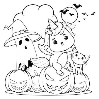 Kolorowanka halloween z uroczym jednorożcem18