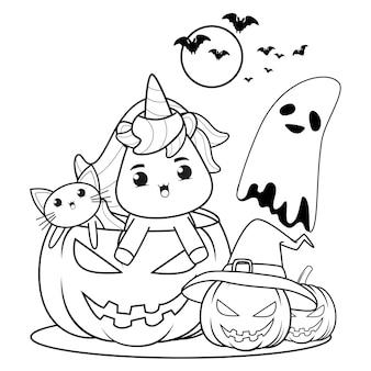 Kolorowanka halloween z uroczym jednorożcem22