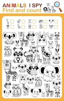 Kolorowanka i liczba szpiegów i kolorowy arkusz do druku zwierząt w zoo dla przedszkola i przedszkola