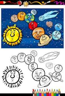 Kolorowanka kreskówka układu słonecznego
