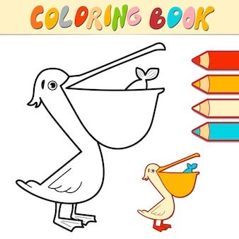 Kolorowanka lub strona dla dzieci. pelikan czarno-biały ilustracja