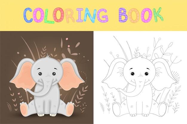 Kolorowanka lub strona dla dzieci w wieku szkolnym i przedszkolnym. rozwijanie kolorowania dzieci. wektorowa kreskówki ilustracja z ślicznym słoniem