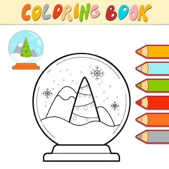Kolorowanka lub strona do kolorowania dla dzieci. boże narodzenie piłka czarno-biała ilustracja wektorowa