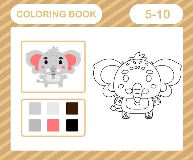 Kolorowanka lub strona kreskówka ładny słoń, gra edukacyjna dla dzieci w wieku 5 i 10 lat