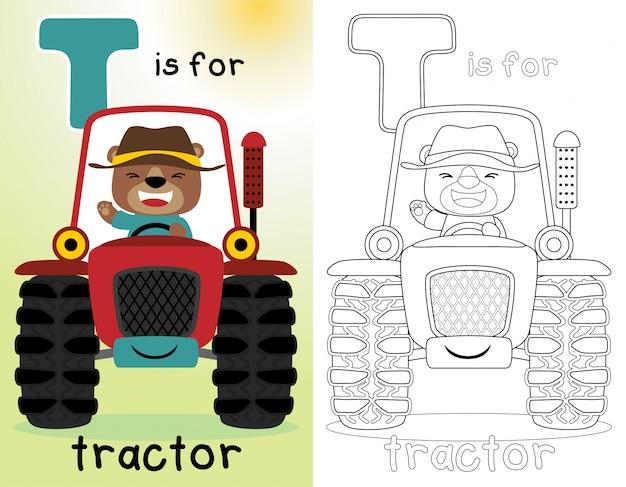 Kolorowanka lub strona z śmiesznym rolnikiem na czerwonym ciągniku