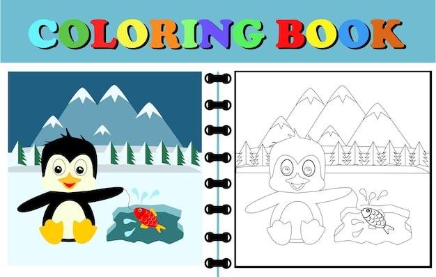 Kolorowanka lub strona z wektorową kreskówką pingwinów łowią ryby