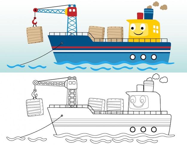 Kolorowanka lub strona z zabawnym statkiem towarowym