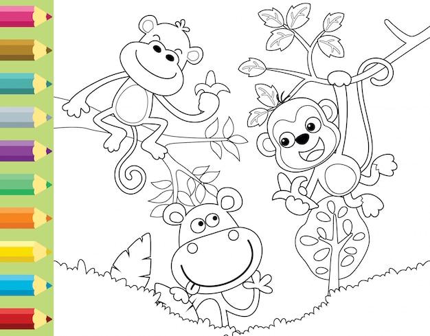 Kolorowanka lub strona ze śmieszną małpą kreskówką
