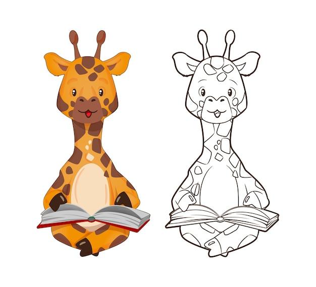 Kolorowanka, mała żyrafa czyta książkę. ilustracja wektorowa w stylu kreskówki, grafika liniowa