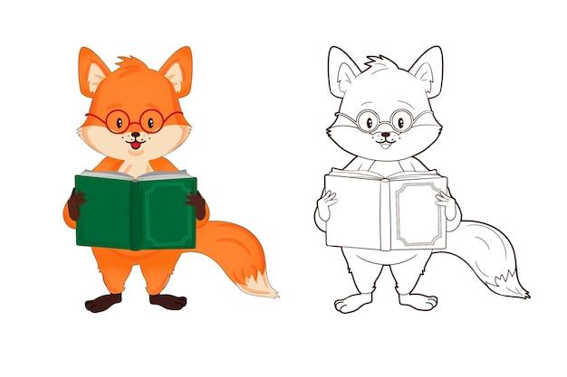 Kolorowanka mały czerwony lis w okularach czyta książkę ilustracja wektorowa w stylu kreskówki