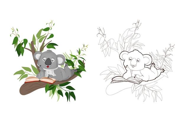 Kolorowanka mały koala czyta książkę siedzącą na gałęziach eukaliptusailustracja wektorowa