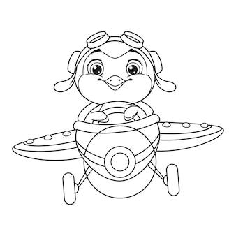 Kolorowanka mały pingwin lecący samolotem. zarys ilustracja kreskówka wektor