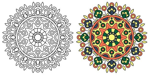 Kolorowanka mandala z zaokrąglonymi motywami kwiatowymi relaks