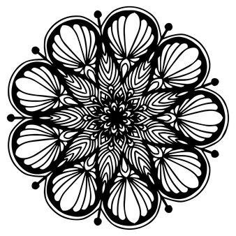 Kolorowanka mandale, kształt kwiatów, terapia orientalna, loga jogi.