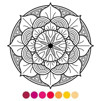 Kolorowanka mandali dla dorosłych. kolorystyka antystresowa z próbką koloru