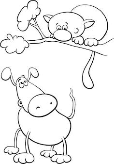 Kolorowanka pies i kot kreskówka