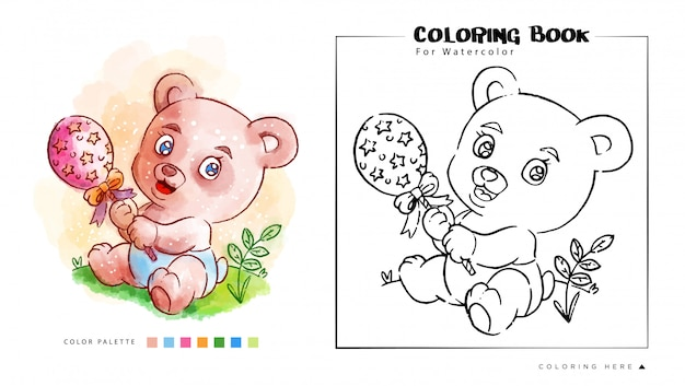 Kolorowanka ślicznego niedźwiedzia, grając zabawki ilustracji akwarela