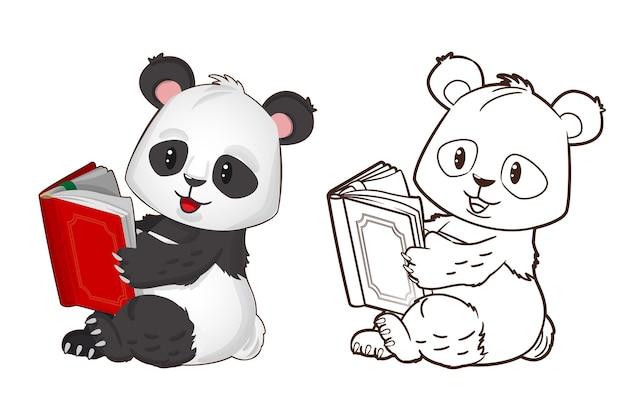 Kolorowanka śmieszna mała panda trzyma książkę w rękach ilustracja wektorowa w stylu kreskówki