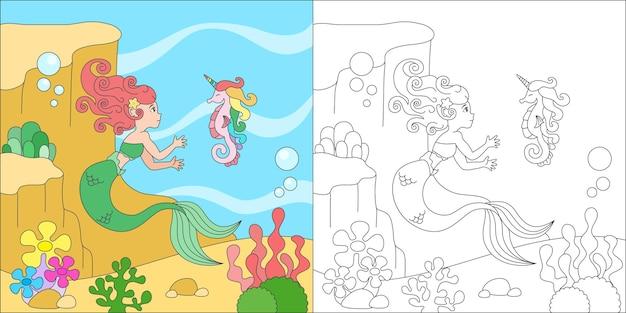 Kolorowanka syrenka i konik morski