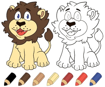 Kolorowanka szczęśliwy lew kreskówka.