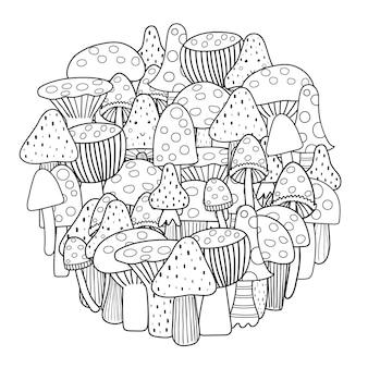 Kolorowanka w kształcie koła z grzybami