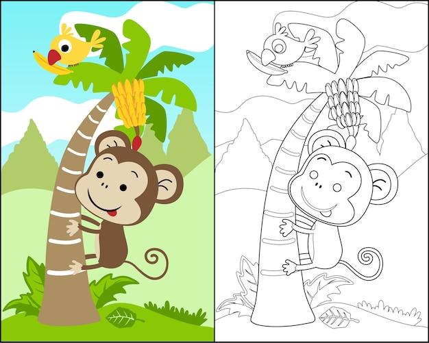 Kolorowanka wektor z małpa kreskówka wspiąć się na drzewo bananowe