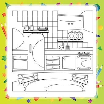 Kolorowanka z bajkami kuchnia - ilustracji wektorowych.