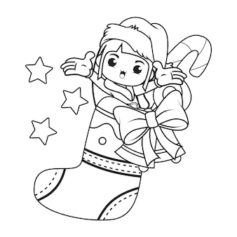 Kolorowanka z cute girl christmas caracther