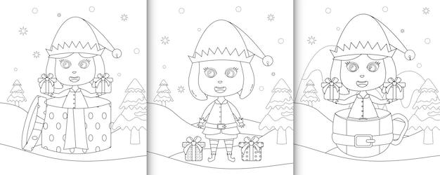 Kolorowanka z cute girl elf