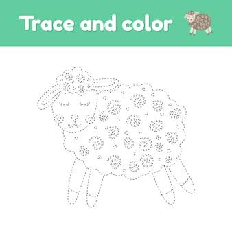 Kolorowanka z cute zwierząt gospodarskich owiec. dla dzieci w wieku przedszkolnym, przedszkolnym i szkolnym. arkusz śledzenia. rozwój umiejętności motorycznych i pisma ręcznego. ilustracji wektorowych.