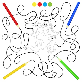 Kolorowanka z dinozaurami - ilustracja wektorowa dla dzieci