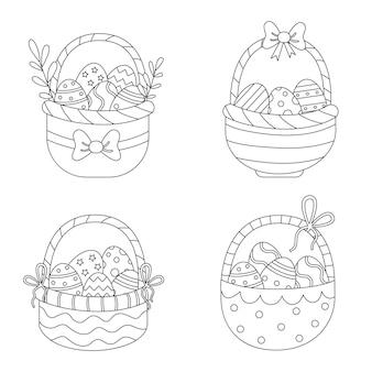 Kolorowanka z koszykami wielkanocnymi. zestaw czarno-białych koszy pełnych jajek.