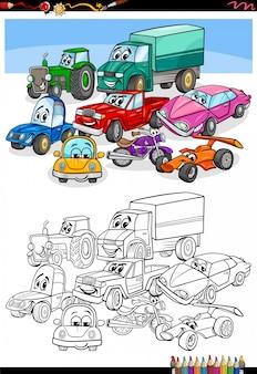 Kolorowanka z kreskówkowymi samochodami i pojazdami
