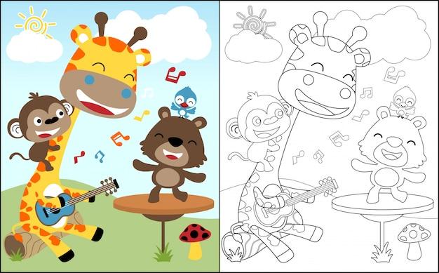Kolorowanka z miłą kreskówkę zwierząt śpiewać