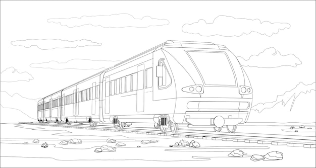 Kolorowanka z modelem 3d nowoczesnego pociągu dużych prędkości i jasnego krajobrazu. piękna ilustracja z podróży pociągiem. piękna grafika pociągu high-tech.