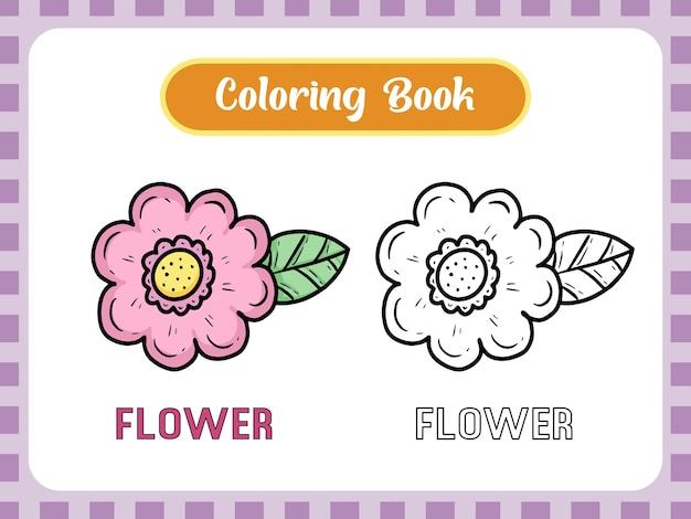 Kolorowanka z rysunkiem kwiatowym dla dzieci uczących się