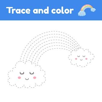Kolorowanka z śliczną tęczą. dla dzieci w wieku przedszkolnym, przedszkolnym i szkolnym. arkusz śledzenia. rozwój umiejętności motorycznych i pisma ręcznego.