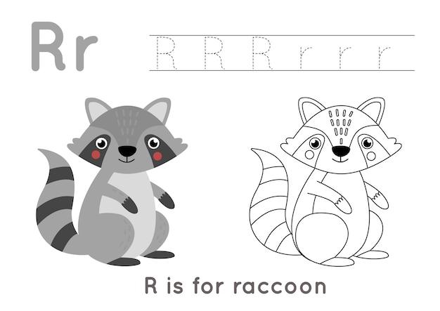 Kolorowanka z szopem kreskówka. arkusz śledzenia alfabetu z literą r. ćwiczenia pisma ręcznego dla dzieci.