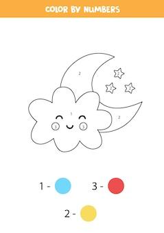 Kolorowanka z uroczą chmurą i księżycem. koloruj według liczb. gra matematyczna dla dzieci.