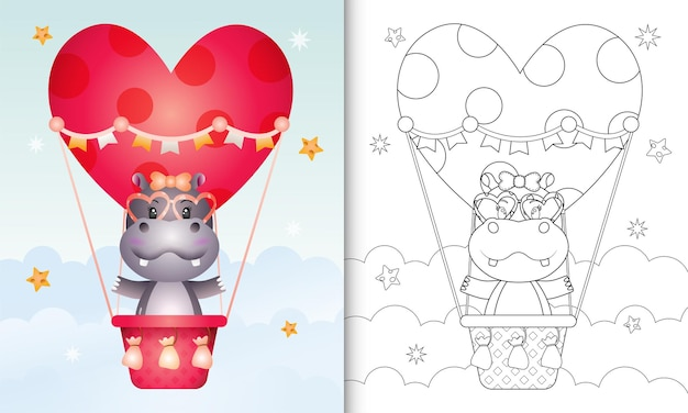 Kolorowanka z uroczą hipopotamą na balonem miłości walentynki o tematyce